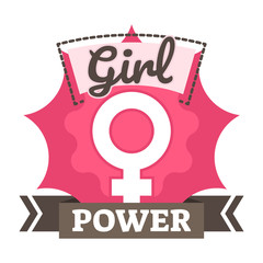 Girl power badge, logo or icon with female symbol on pink background