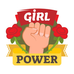 Girl power badge, logo or icon with hand and flowers