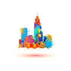 City. Vector icon. Splash paint