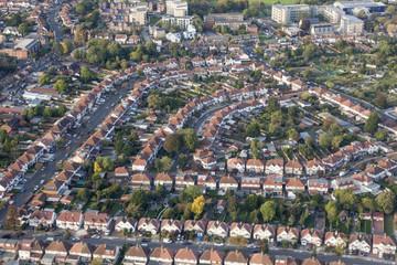 London suburb aerial view
