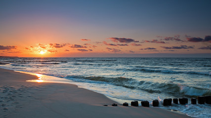 Sunset on the Baltic Sea, Poland Wall mural