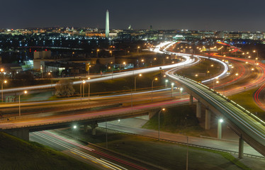 DC traffic at night from above