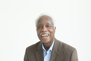 Portrait of laughing older Black man