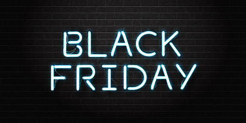 Vector realistic isolated neon sign of Black Friday lettering for decoration and covering on the transparent background. Concept of sale, clearance and discount.