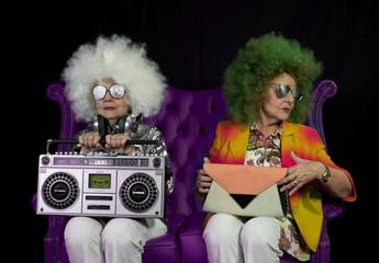 funky grandma DJ twin retro ghettoblaster