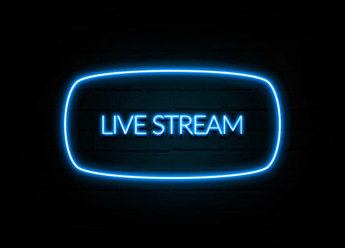 Live Stream  - colorful Neon Sign on brickwall