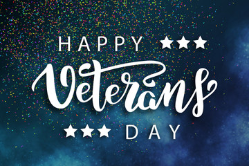 Vector realistic isolated poster with lettering for 11th November, Veterans Day lettering for decoration and covering on the blue background. Concept of Memorial day in USA.