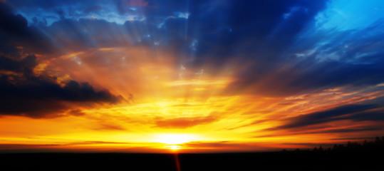 Dramatic sunset landscape background