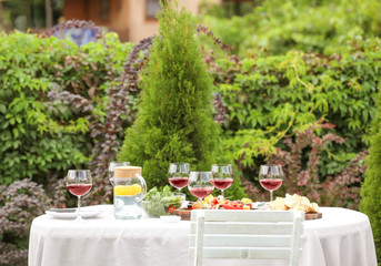 Food and wine served on table for barbecue party in garden