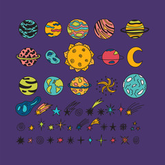 Hand drawn planets, stars, asteroids and other space objects. Sketch set of space elements and symbols. Cute doodle style. Universe, galaxy