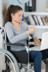 young woman on the wheelchair with her laptop