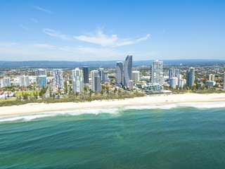 An aerial view of Broadbeach on the Gold Coast in Queensland, Australia