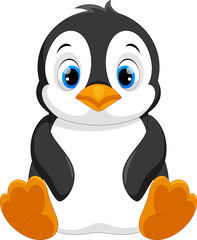 Cute baby penguin cartoon sitting