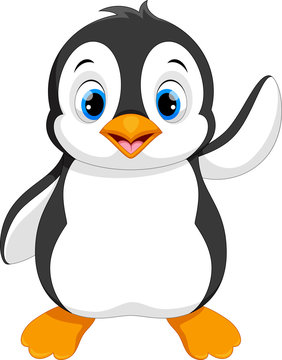 Vector illustration of cute baby penguin cartoon waving isolated on white background