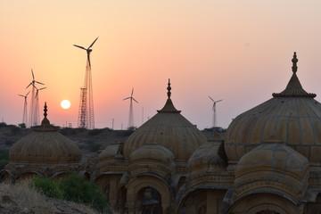 beautiful ancient cenotaphs of rawal kings in bada baagh jaisalmer rajasthan india