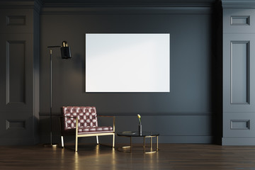 Black living room, armchair and poster
