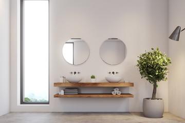 Narrow window bathroom, double sink