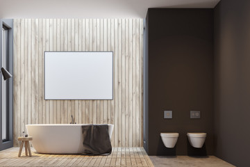 Black and wooden bathroom, poster and tub