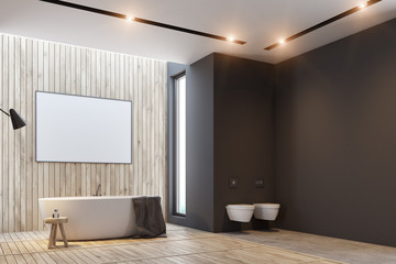 Black and wooden bathroom, poster and tub side
