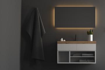Black bathroom, wooden sink cabinet