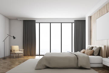White and wooden bedroom, window, poster, side
