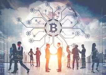 Businesspeople, bitcoin network, planet