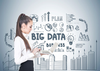 Young businesswoman with a laptop, big data