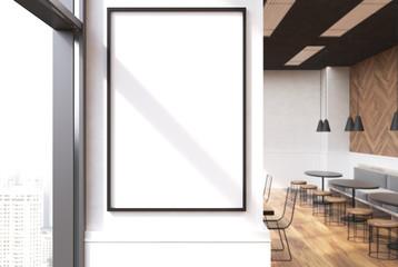 White cafe interior, poster close up