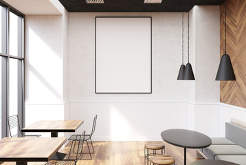 Gray cafe interior, poster