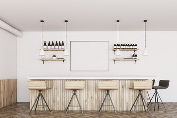 White and wooden bar, poster