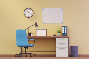 Yellow wall workplace with computer and poster