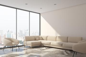 White living room, white sofa, loft side