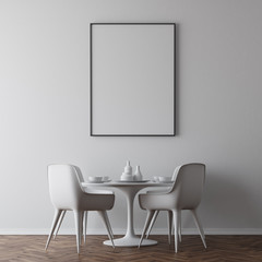 White dining room table, poster