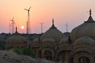 beautiful ancient cenotaphs of rawal kings in bada baag jaisalmer rajasthan india