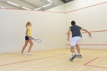 couple and a game of squash