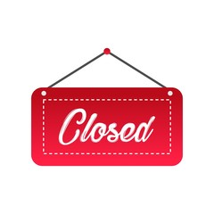 Closed store sign icon vector design for retail shop, market, shop in modern style isolated on white background