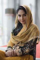 Portrait of beautiful woman arabic style fashion look.