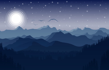 Night Mountains landscape with stars on the sky