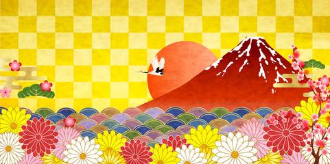 富士山 日の出 菊 背景