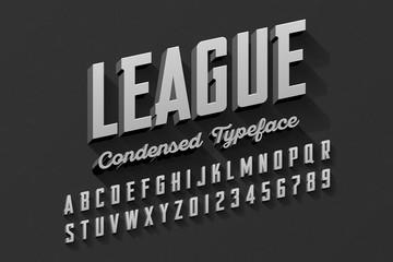 Retro style condensed typeface, vintage alphabet