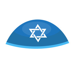 Hebrew bale icon, flat style. Religious Jewish hat. Isolated on white background. Vector illustration