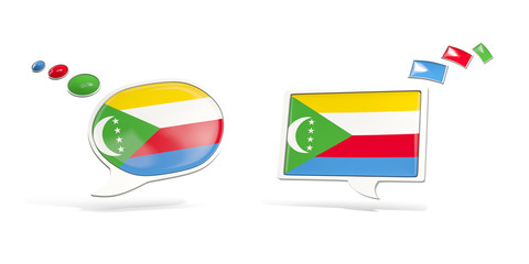 Two chat icons with flag of comoros