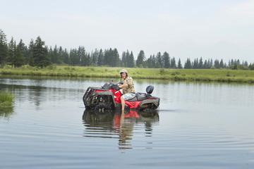 Tourists on all-terrain vehicles. On ATV