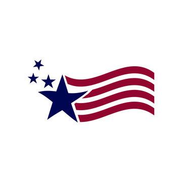 illustration America flag waving