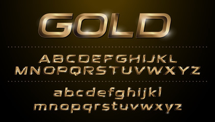 Alphabet fonts. Metallic, golden effect italic letters on a dark background. alphabet vector typeface glowing text effect. ABC, Gold lowercase and uppercase letters