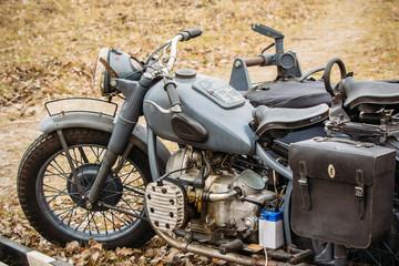 Old Vintage Motorcycle German troops
