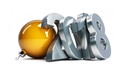 new year 2018 on a white background 3D illustration, 3D rendering