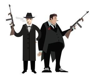 mafia mobster with machine gun