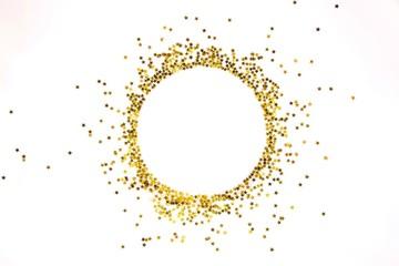 Star shaped golden sequins frame arranged in circle.