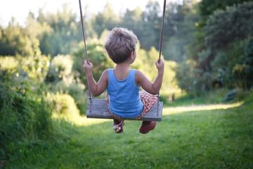 A small child swings on a swing in the nature, the view from the back.